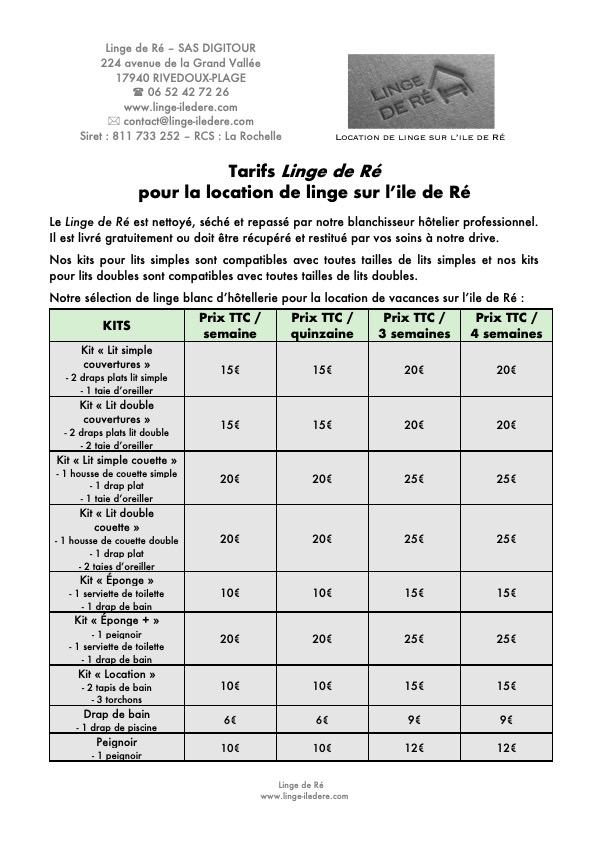 Location de linge sur l'ile de Ré : tarifs